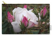 White Rose Pink Buds Carry-all Pouch