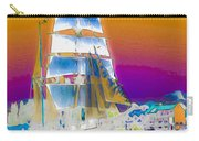 White Sails Ship And Colorful Background Carry-all Pouch