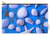 White Sea Shells On Blue Board Carry-all Pouch