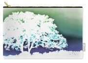 White Silhouette Of Oak Tree Against Blue And Green Watercolor Background Carry-all Pouch