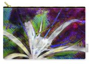 White Spider Flower On Orange And Plum - Vertical Carry-all Pouch