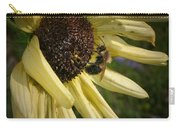 White Sunflower And Bee Carry-all Pouch