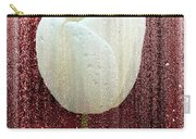 White Tulip On Red Carry-all Pouch