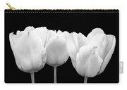 White Tulip Triple On Black Carry-all Pouch