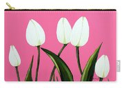White Tulips On Pink Carry-all Pouch