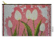 White Tulips On Pink In Stained Glass Carry-all Pouch