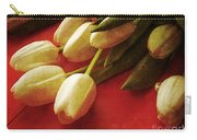White Tulips Over Red Carry-all Pouch