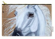 White Unicorn On Wood Carry-all Pouch