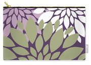 White Violet Green Peony Flowers Carry-all Pouch
