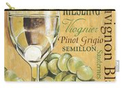 White Wine Text Carry-all Pouch by Debbie DeWitt