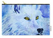 White Wolf - Aurora Nights In Blues - Square Carry-all Pouch