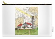 Whitefish Pt Lighthouse Mi Nautical Chart Map Art Cathy Peek Carry-all Pouch