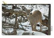 Whitetail Deer Doe In Snow Carry-all Pouch