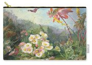 Wild Flowers And Butterfly Carry-all Pouch by Jean Marie Reignier