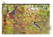 Wild Red Berrie Bush With Birds - Digital Paint Carry-all Pouch