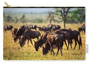 Wildebeests Herd. Gnu On African Savanna Carry-all Pouch