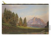 Wildflowers Mountains River Western Original Western Landscape Oil Painting Carry-all Pouch