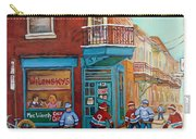 Wilensky Montreal-fairmount And Clark-montreal City Scene Painting Carry-all Pouch by Carole Spandau