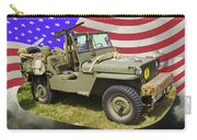 Willys World War Two Army Jeep And American Flag Carry-all Pouch