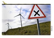 Wind Turbines On The Edge Of A Field With A Road Sign In Foreground. Carry-all Pouch