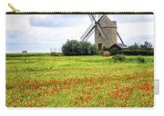 Windmill And Poppy Field In Brittany Carry-all Pouch