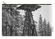 Windmill In The Snow Black And White Carry-all Pouch
