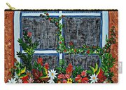 Window Flower Box On A Stucco Wall Carry-all Pouch