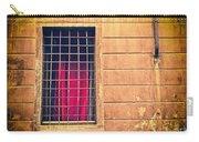 Window With Grate And Red Curtain Carry-all Pouch by Silvia Ganora