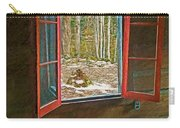 Window With View Abandoned Elkmont Log Cabin Autumn Carry-all Pouch