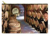 Wine Barrels In The Wine Cellar Carry-all Pouch by Elaine Plesser
