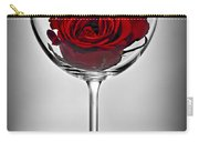 Wine Glass With Rose Carry-all Pouch