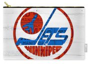 Winnipeg Jets Retro Hockey Team Logo Recycled Manitoba Canada License Plate Art Carry-all Pouch