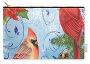 Winter Blue Cardinals-joy Card Carry-all Pouch