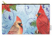 Winter Blue Cardinals-merry Christmas Card Carry-all Pouch