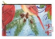 Winter Blue Cardinals-peace Card Carry-all Pouch