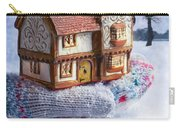 Winter Cottage In Gloved Hand Carry-all Pouch