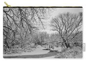 Winter Creek In Black And White Carry-all Pouch