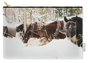 Horses Eating In Snow Carry-all Pouch