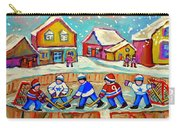 Winter Fun At Hockey Rink Magical Montreal Memories Rink Hockey Our National Pastime Falling Snow   Carry-all Pouch