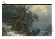 Winter Landscape With Figures On A Frozen River Carry-all Pouch by Heinrich Hofer