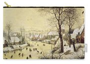 Winter Landscape With Skaters And A Bird Trap Carry-all Pouch