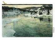Winter On The Mesna River Near Lillehammer Carry-all Pouch by Fritz Thaulow
