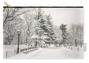 Winter Path - Snow Covered Trees In Central Park Carry-all Pouch by Vivienne Gucwa