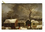 Winter Scene In New Haven Connecticut 1858 By Durrie Carry-all Pouch by Movie Poster Prints