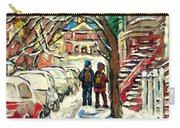 Winter Scene Painting Rows Of Snow Covered Cars First School Day After Christmas Break Montreal Art Carry-all Pouch