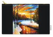 Winter Sunset - Palette Knife Oil Painting On Canvas By Leonid Afremov Carry-all Pouch