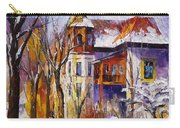 Winter Town - Palette Knife Oil Painting On Canvas By Leonid Afremov Carry-all Pouch