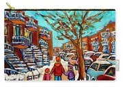 Winter Walk Montreal Paintings Snowy Day In Verdun Montreal Art Carole Spandau Carry-all Pouch