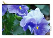 Winter's Blue Pansies Carry-all Pouch