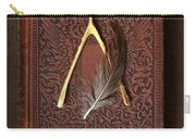 Wishbone And Feather On Antique Book Carry-all Pouch
